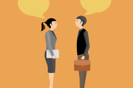 Man and woman having a conversation